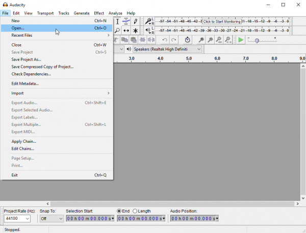 Audacity file menu