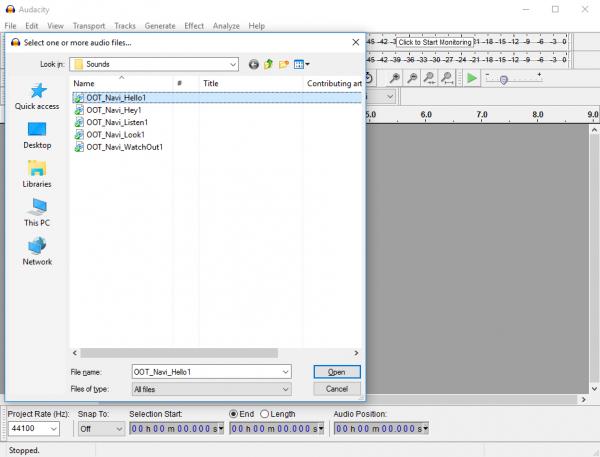 Audacity open file dialog
