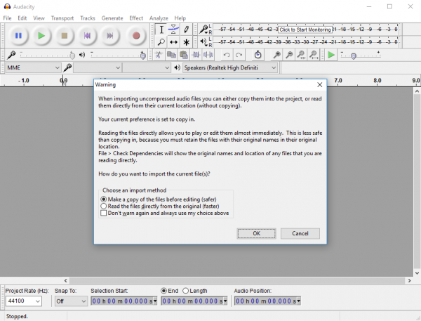 Audacity edit file warning