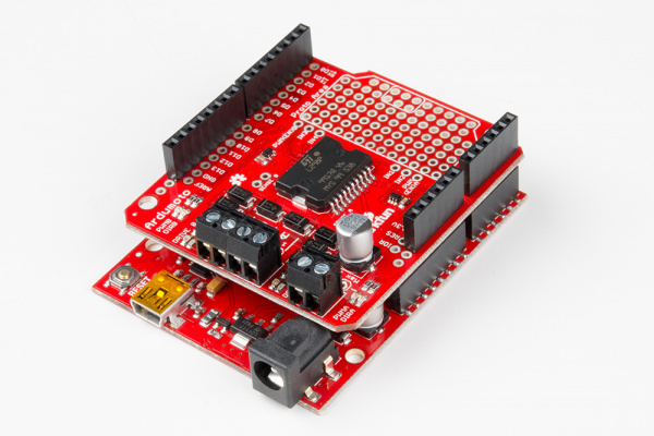 The Ardumoto Shield plugged into  a SparkFun RedBoard.