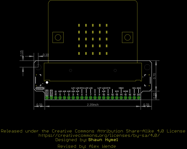 Outline of board 16446. Measurements in inches