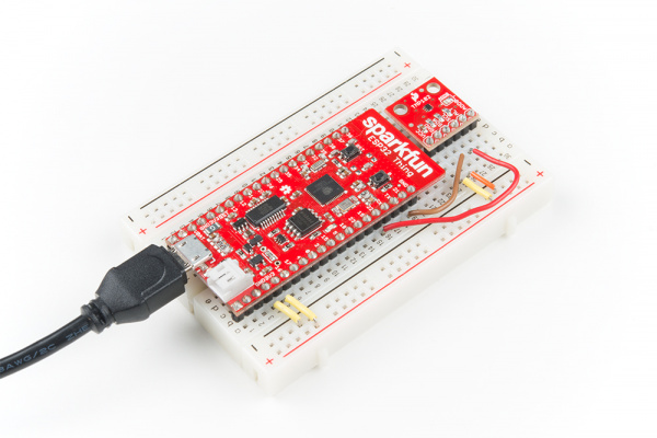 TMP102 temperature sensor connected to the ESP32 Thing