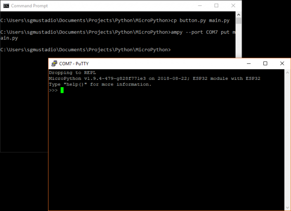 Serial terminal used to communicate with MicroPython REPL