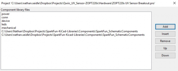 Component Library Files with SparkFun Schematic Component Library