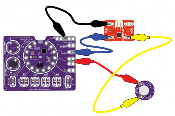 LilyPad Protosnap Plus with N-Channel MOSFET Power Controller and Vibe Motor