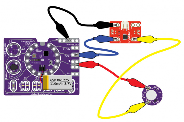 LilyPad Protosnap Plus: MOSFET Power Controller, and Vibe Board with LiPo Battery