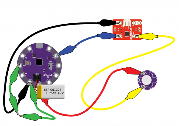 LilyPad Arduino USB, MOSFET Power Controller, and Vibe Board with LiPo Battery