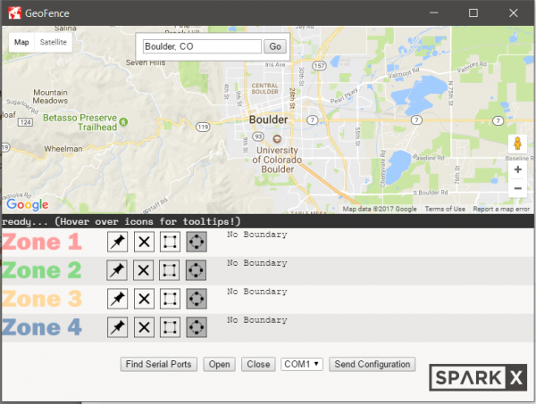 screenshot of the geofence software.