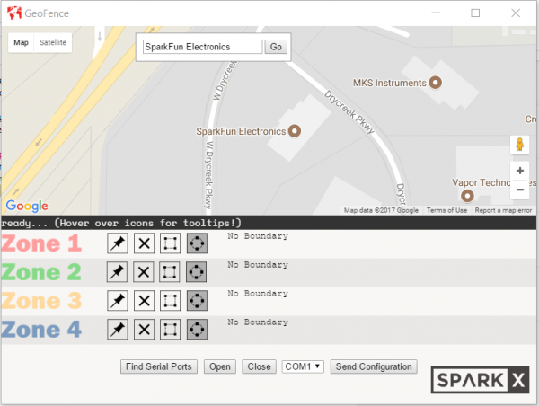 screenshot of the geofence software with the map centered on Sparkfun HQ.