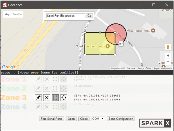 screenshot of the geofence software in Zone 3 edit mode with a rectangular zone on the map.