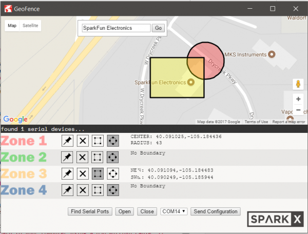 screenshot of the geofence software showing one active serial device.