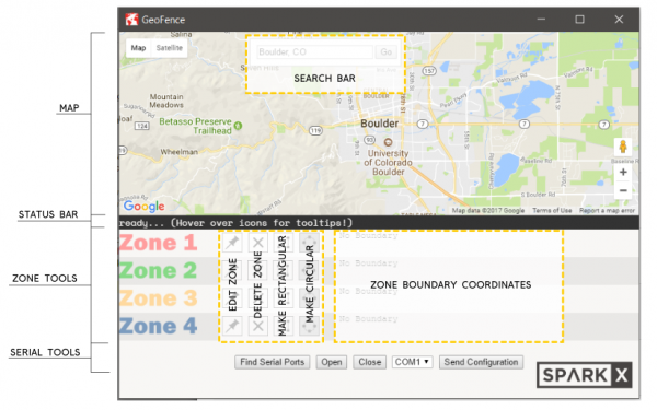 screenshot of the geofence software with all of the UI elements labeled.