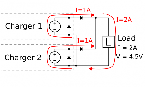 Two Charger/Boosters in Parallel with Diodes