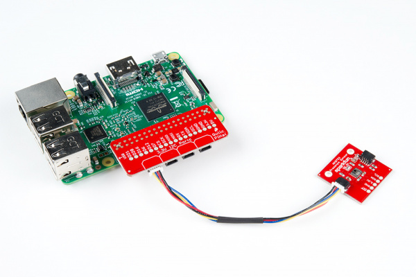 Qwiic Board Connected to Stacked Qwiic HAT on Pi