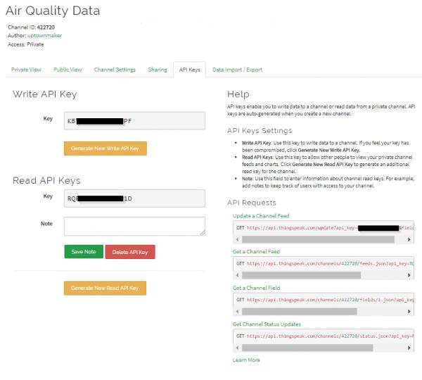 ThingSpeak API Keys page