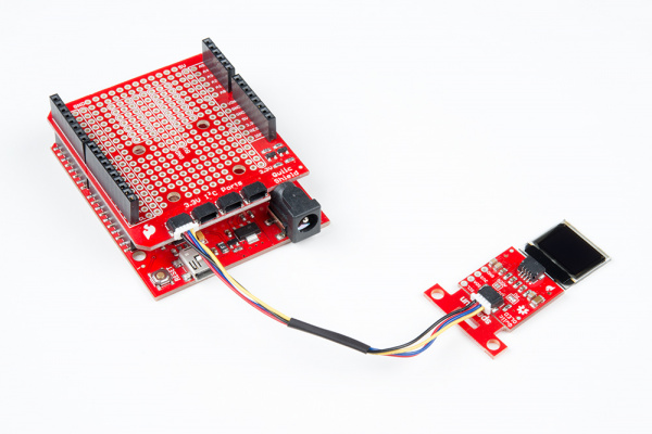 Qwiic Micro OLED Connected to Arduino and Qwiic Shield