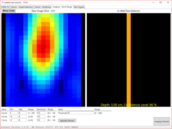 Walabot Developer SDK Short Range Imaging Parallel