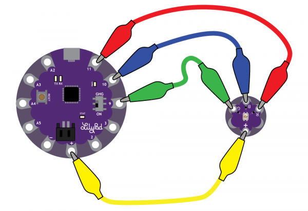Attaching the Tri-Color LED to a LilyPad Arduino USB