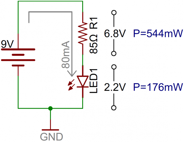 LED circuit with current-limiting resistor