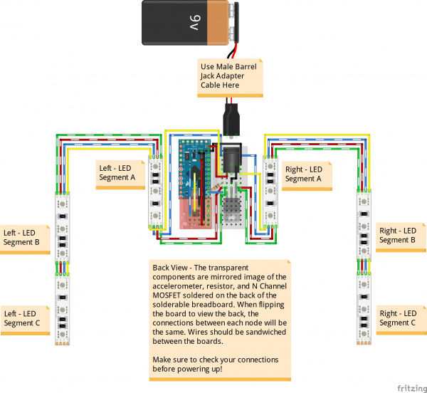 Wearable Motion Controlled LED Harness Circuit - Back View