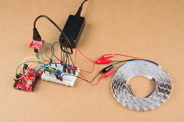 12V/5V power supply connected to an Arduino and the Non-Addressable RGB LED Strip when powering the board Remotely in an Installation