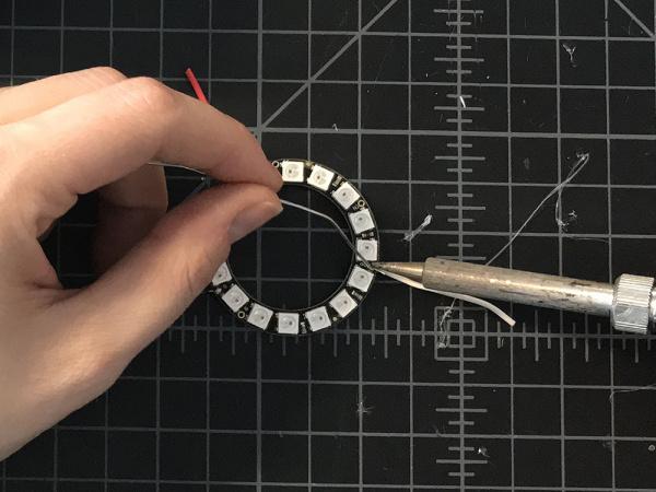 solder neopixel leads