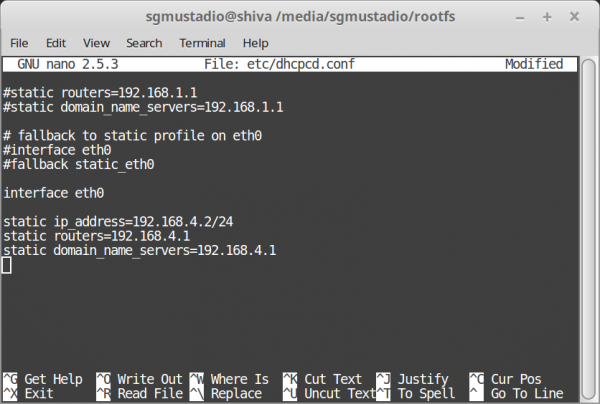 Setting a static IP address on the Raspberry Pi rootfs partition