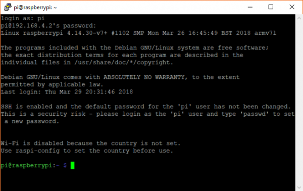 Logging into a Raspberry Pi over SSH