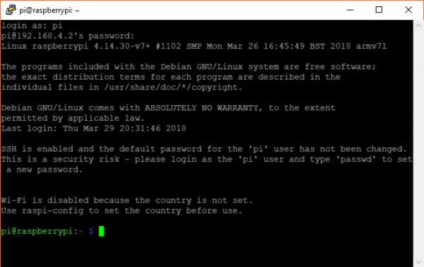 Logging into a Raspberry Pi over SSH