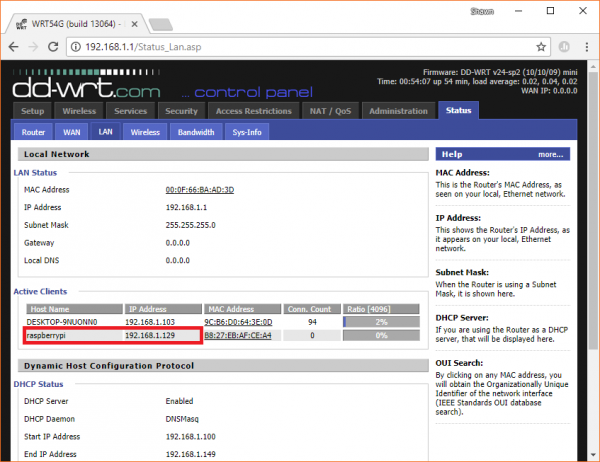 Screenshot of DHCP lease table with IP address for Raspberry Pi in WiFi router
