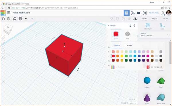 Change the color of an object in Tinkercad