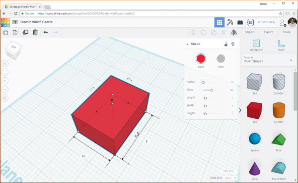 Changing the dimensions of a box in Tinkercad