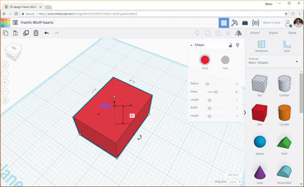 Clicking on the height node of a box in Tinkercad