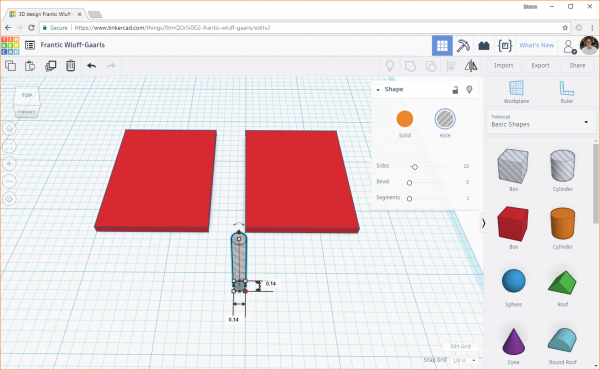 Creating a hole cylinder in Tinkercad