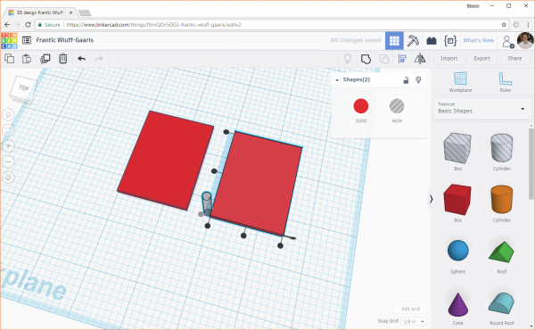 Align the bottom of one object with the bottom of another in Tinkercad
