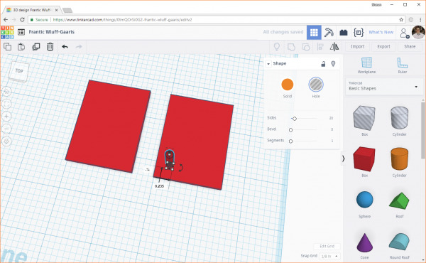 Manually moving a hole in Tinkercad