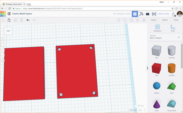 Adding drill holes in Tinkercad