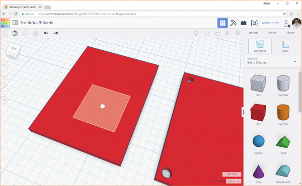 Moving the workplane in Tinkercad