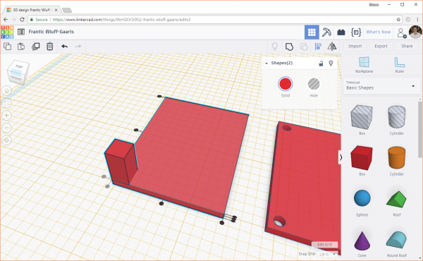 Aligning the box with a box corner in Tinkercad