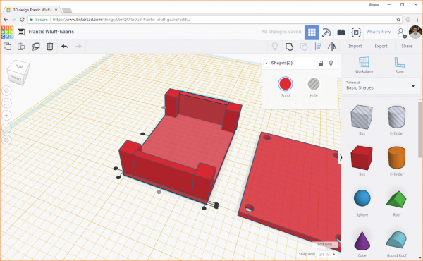 Duplicate the object in Tinkercad to create the opposite wall