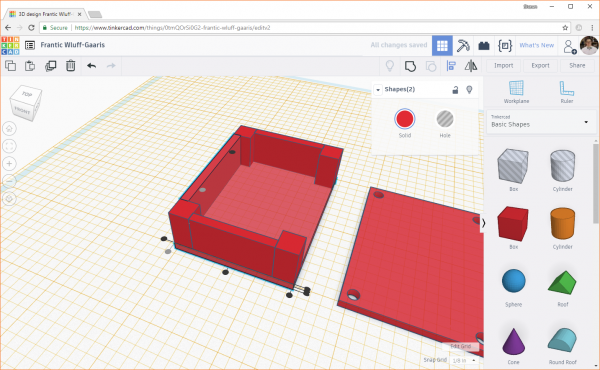 Rotating and aligning the wall with the rest of the design in Tinkercad