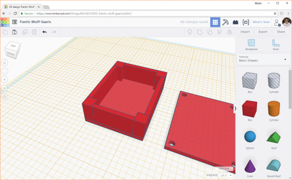 Completing the construction of the fourth wall in Tinkercad