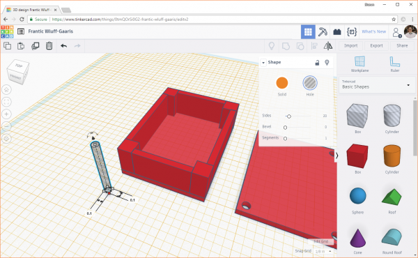 Adding a cylinder hole object to a design in Tinkercad