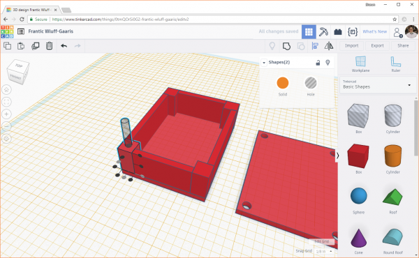 Aligning the cylinder hole object with a solid object in Tinkercad