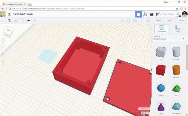 Reset the workplane in Tinkercad