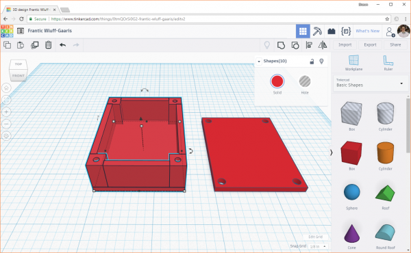 Highlighting all the components in the base of the enclosure in Tinkercad