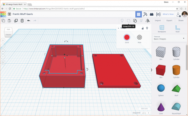 Multiple objects in Tinkercad grouped into one shape