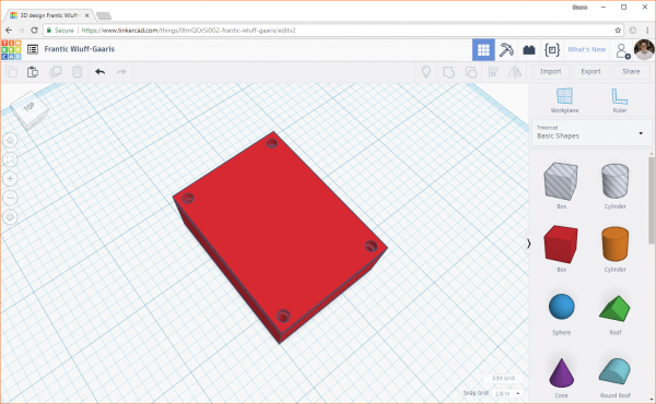 Verifying that the holes line up in Tinkercad