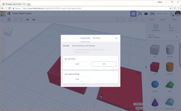 Export your design from Tinkercad as a .stl file to a Slicer program for 3D printing