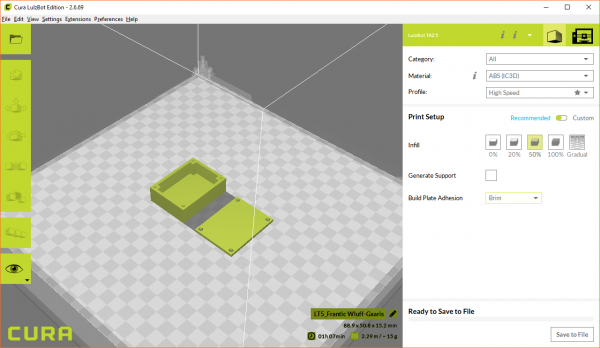 Configure settings to print our enclosure in Cura